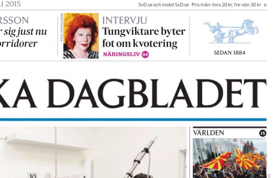 SvD:s förstasida den 18 maj.