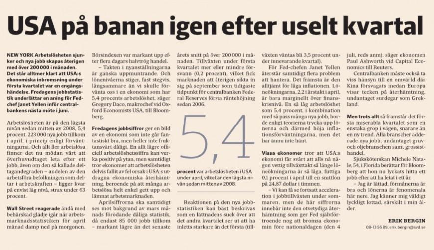 Artikeln om april månads arbetsmarknadsstatistik i SvD Näringsliv.