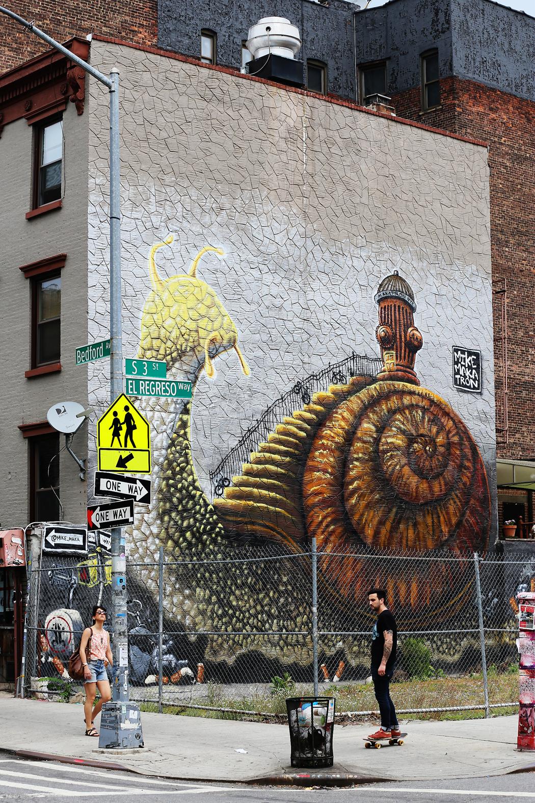 En muralmålning i Williamsburg.