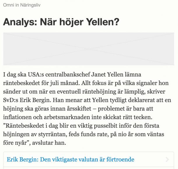 Omni-notis om analysen (skärmdump från SvD:s redaktionssystem).