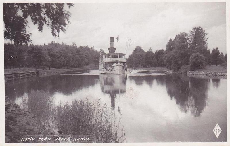 Gammalt Väddö Kanal-vykort med SS Södertörn. Foto: Upplandia.se
