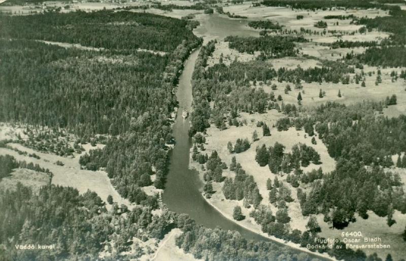 Flygfoto över Väddö kanal. Foto: Upplandia.se