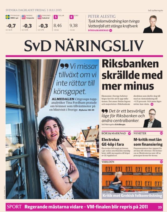 SvD Näringslivs förstasida.