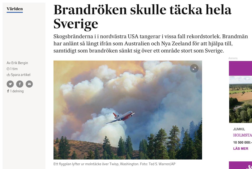 Artikeln om brandröken i Montana.