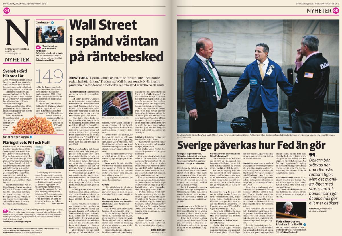 Så tycker Wall Street inför Feds räntebesked. Ur SvD Näringsliv torsdag 17 sept.