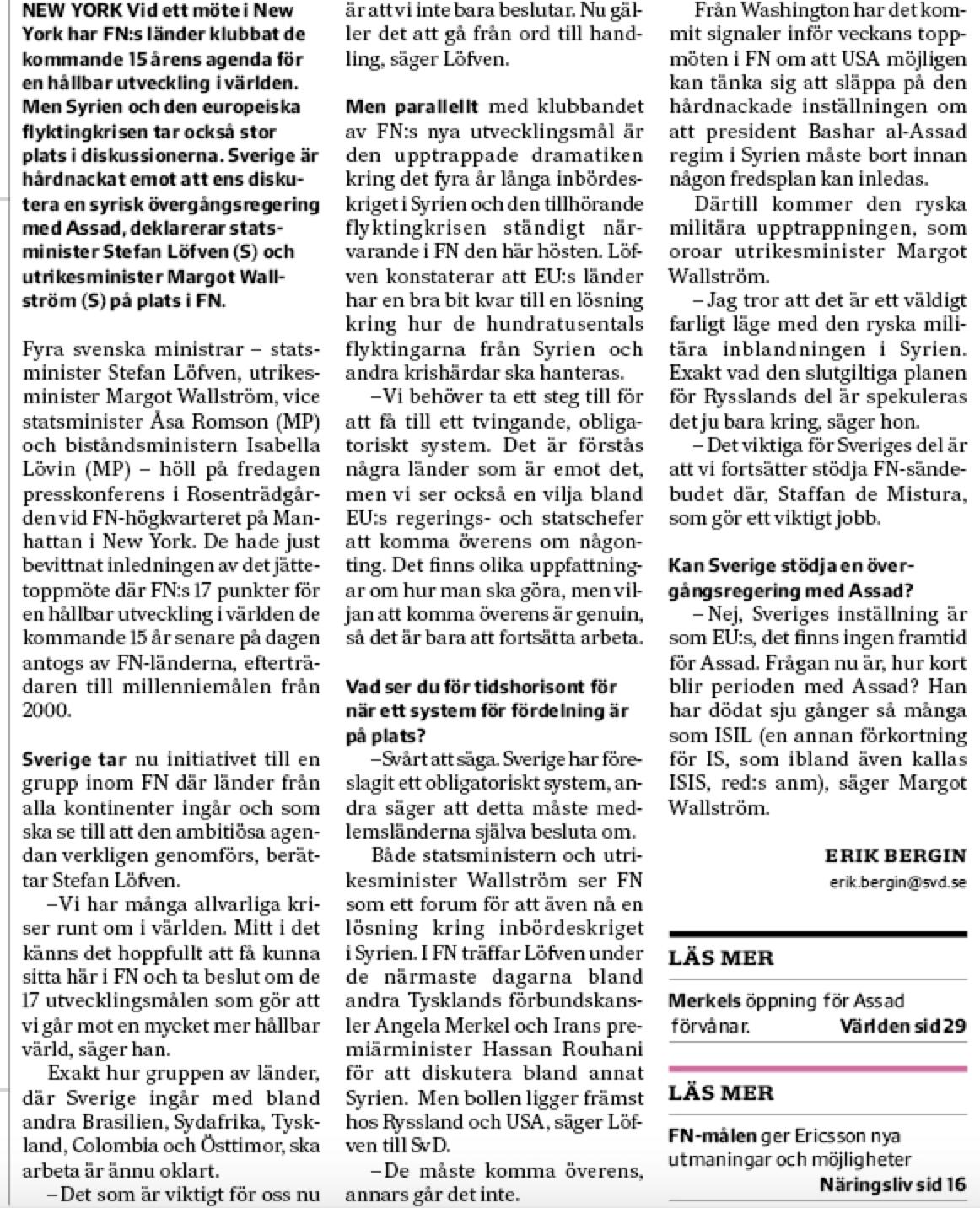 Min artikel från Löfvens pk i FN, New York, den 25 september 2015.