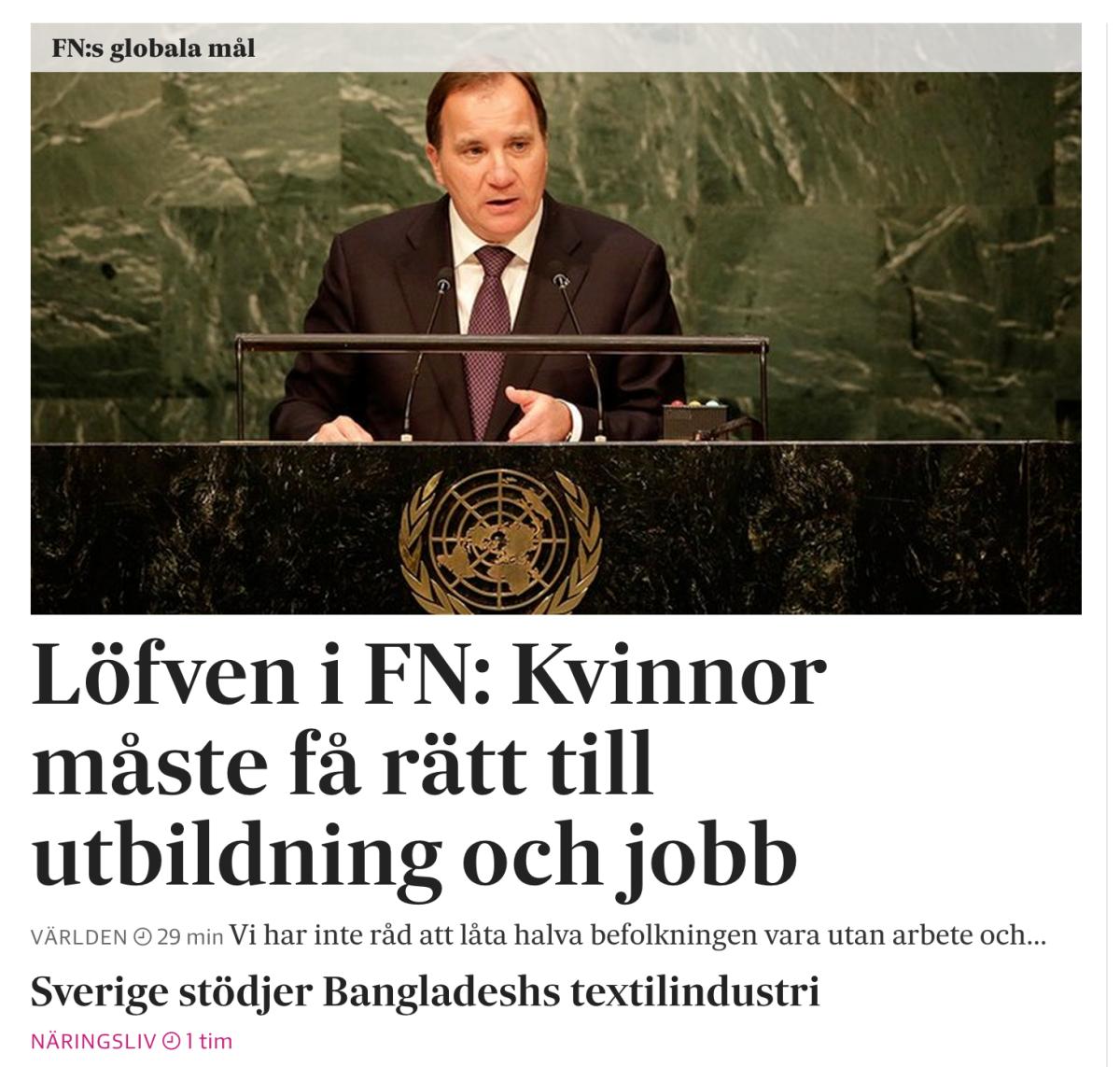 Artikeln om Löfvens tal i FN.