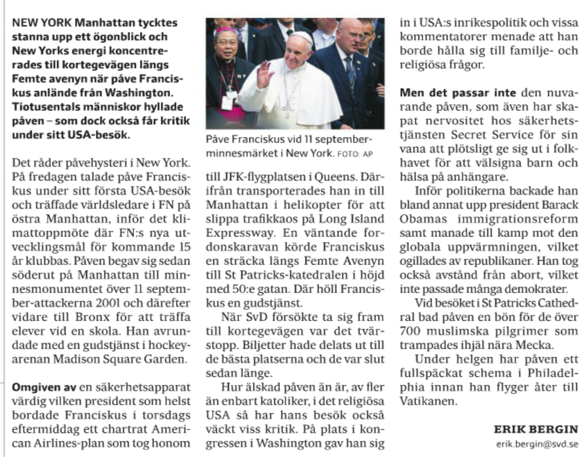 Påveartikeln på sid 32 i fredagens SvD.