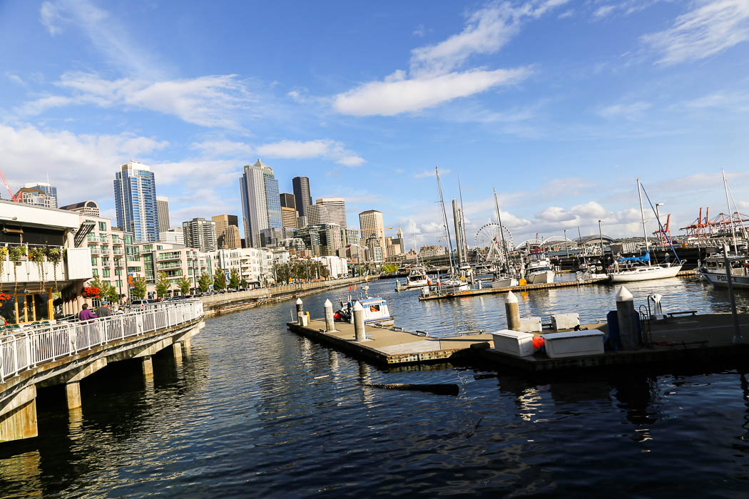 Seattles vattennära kvarter, nära hamnen.