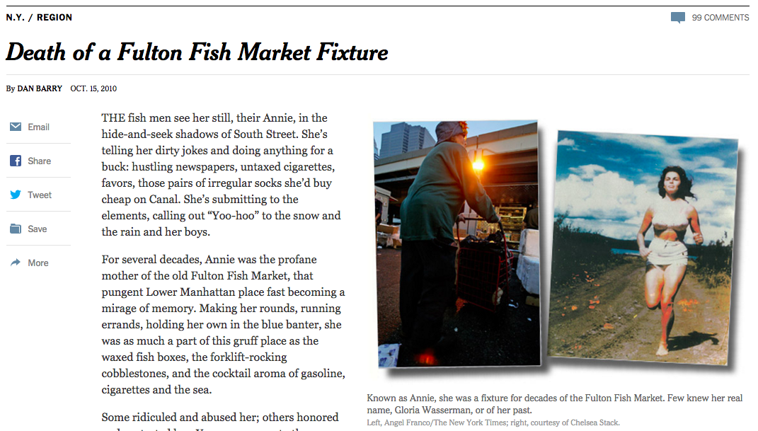 New York Times dödsruna om South Street-karaktären Annie, från oktober 2000.