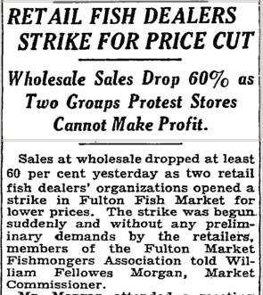 Artikeln i New York Times om en prisstrejk vid Fulton Fish Market 1934.