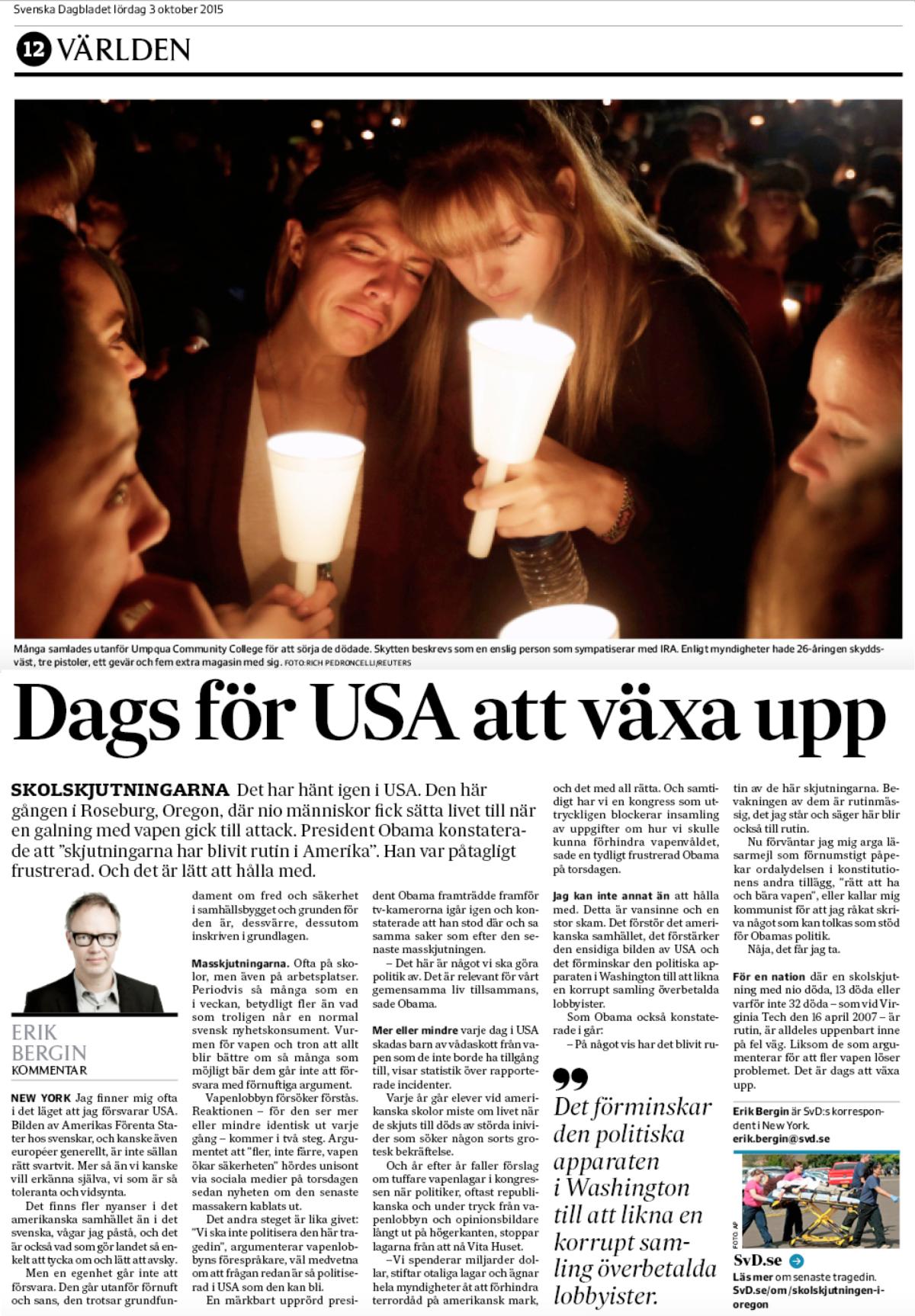 Krönikan i SvD lördagen den 3 oktober 2015.