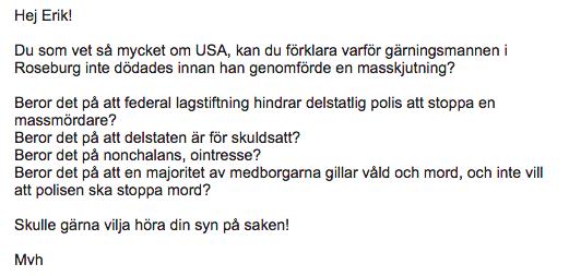 Mejl från en svensk vapenliberalist.