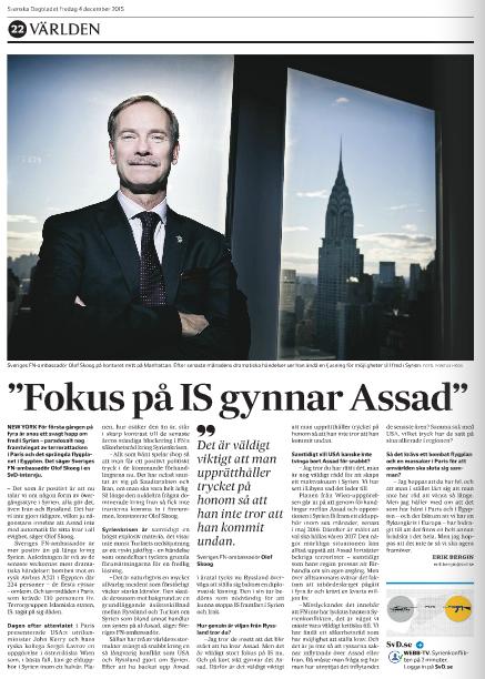 Intervjun med Skoog i SvD. Foto: Pontus Höök