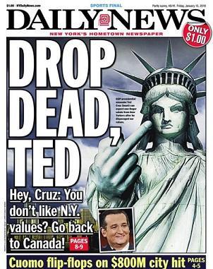 New York Daily News etta fredag den 15 januari 2016.