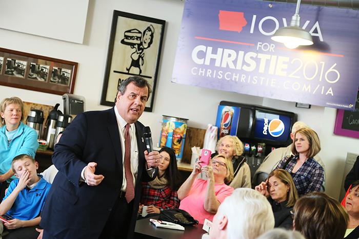 Christie pratar inför väljare i Burlington på fredagen. Foto: Erik Bergin