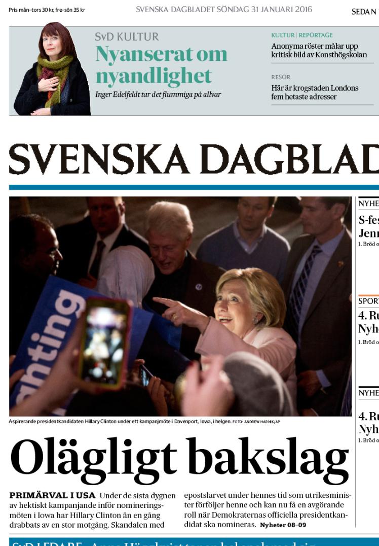 En delvis ofärdig förstasida till söndagens SvD.