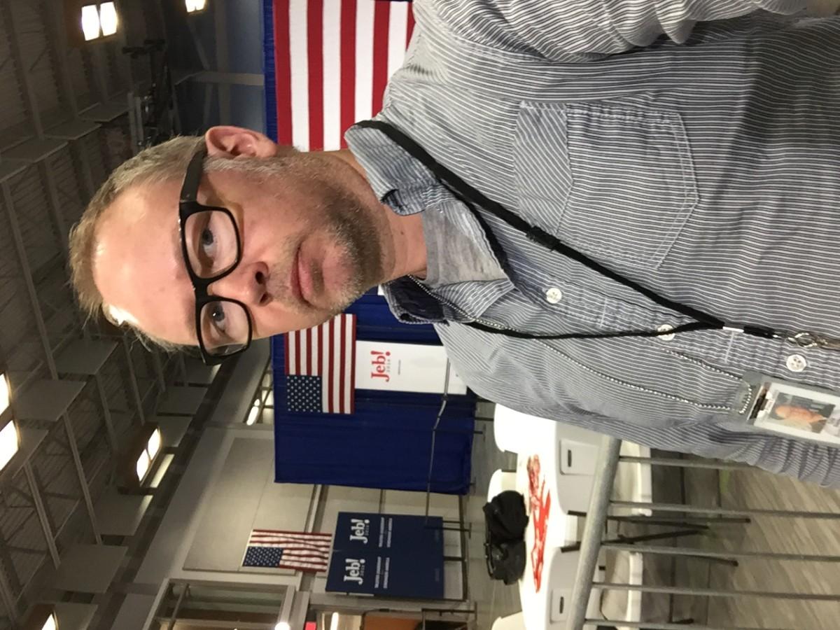 Jag har just anlänt till Jeb Bushs valvaka i manchester, New Hampshire.