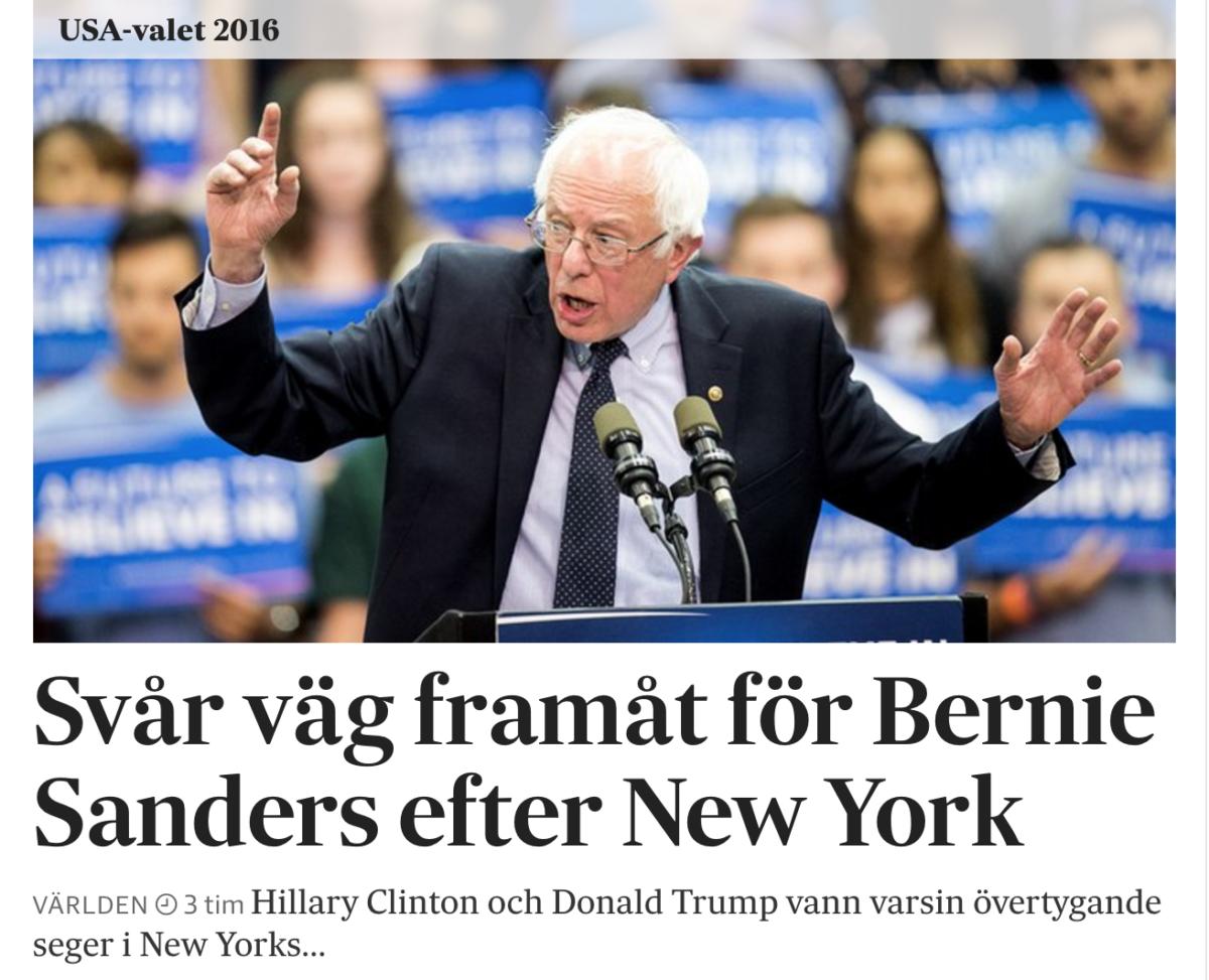 Texten om Bernie Sanders problem på SvD.se onsdag kväll.