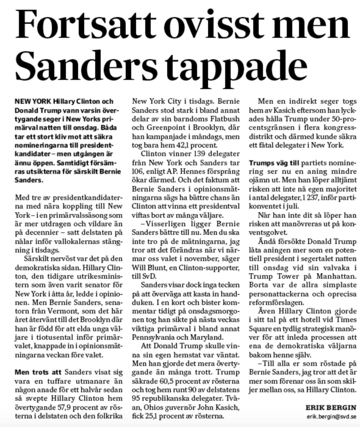 Min artikel om resultatet i primärvalet i New York.