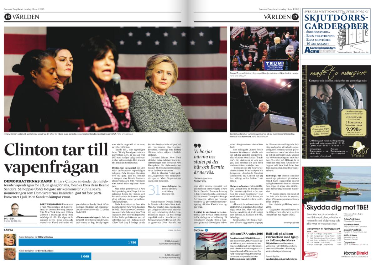 Uppslaget i tidningen.