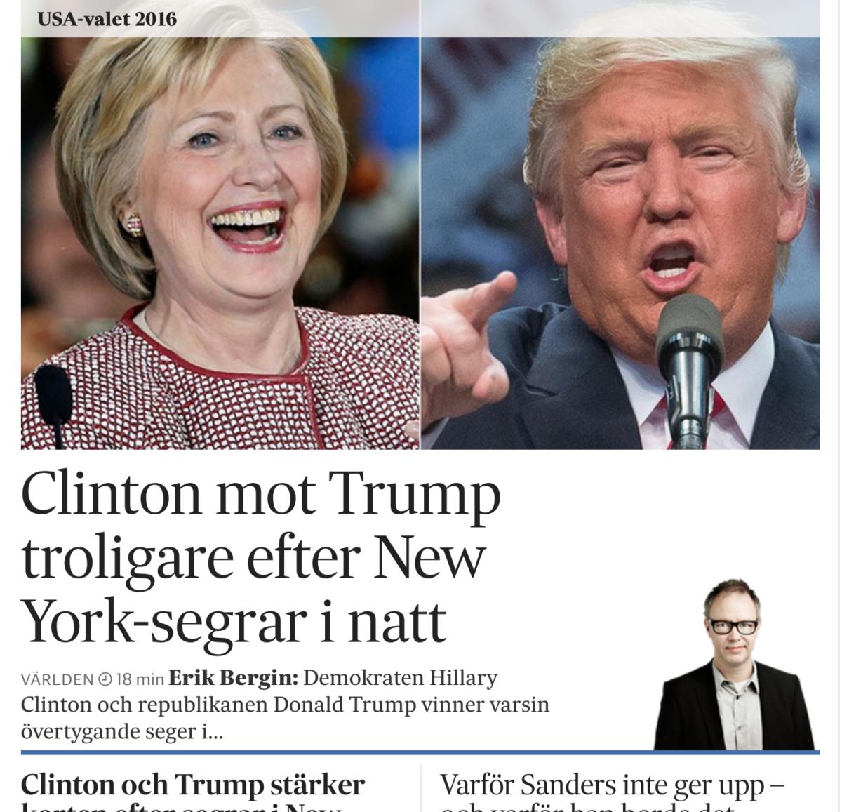 Toppen på SvD.se på onsdagsmorgonen.