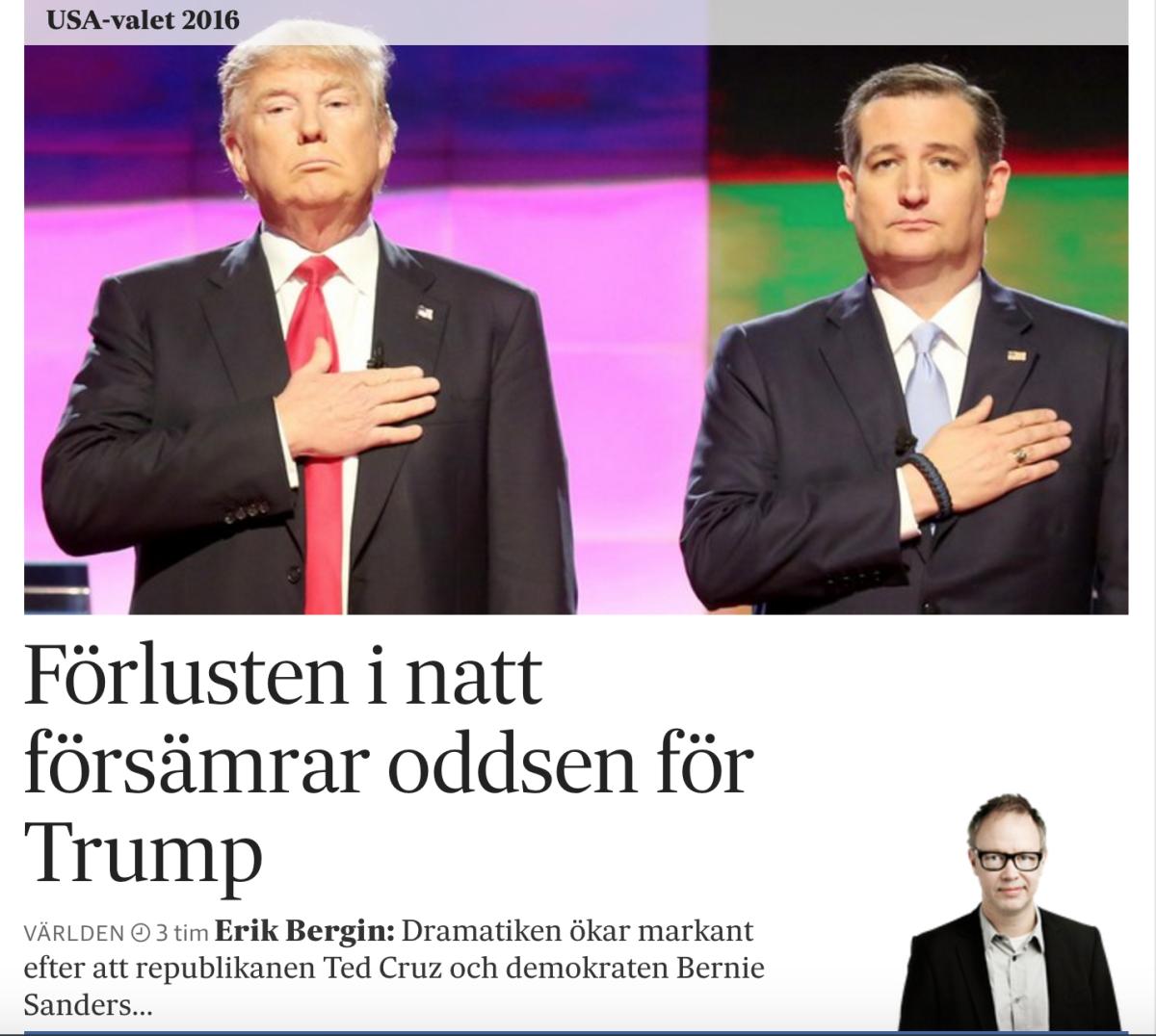 SvD.se på onsdagsmorgonen den 6 april 2016.