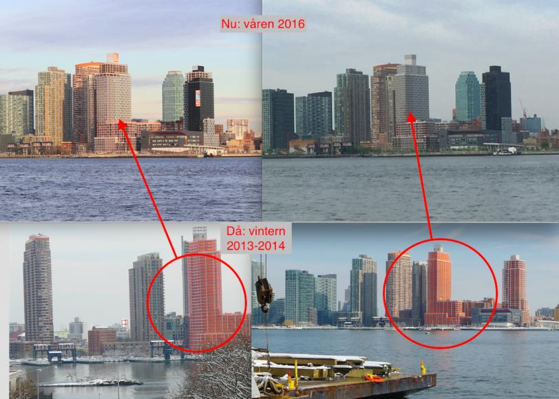 Long Island City, Queens. På de undre bilderna är en ny bostadsskrapa på väg att färdigställas, på de övre är den klar. Foto: Erik Bergin