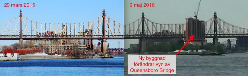 Queensboro Bridge söderifrån med ett drygt års mellanrum. Foto: Erik Bergin
