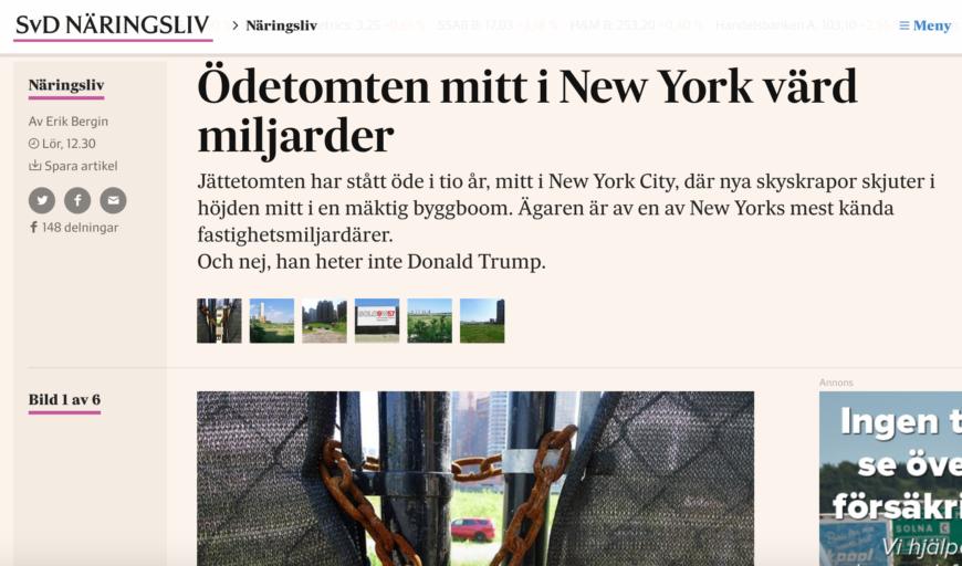 Artikeln om den stora ödetomten mellan 38:e och 41:a gatan på östra Manhattan.