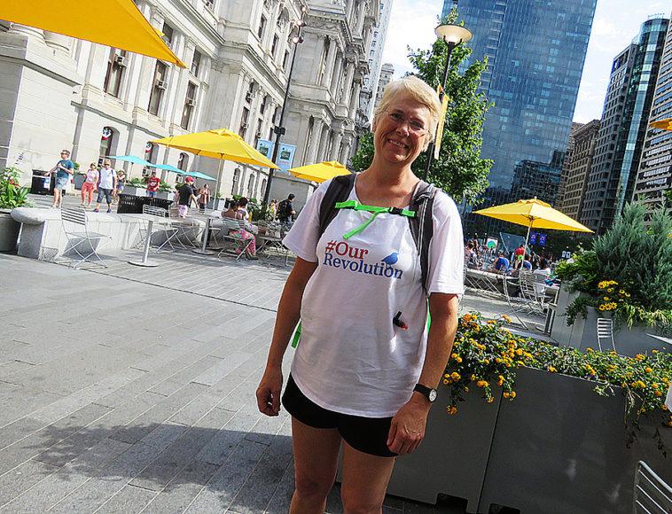 Barbara Hunning, Sanders-supporter. Foto: Erik Bergin