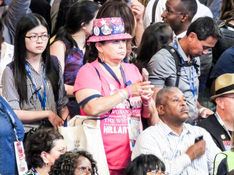 Inne i Wells Fargo Center där Demokraternas konvent hålls. Foto: Erik Bergin