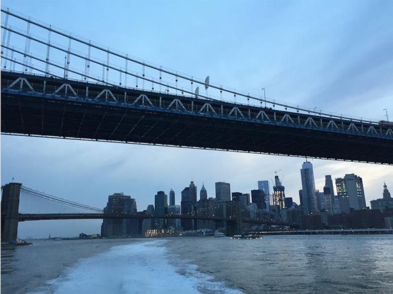 Vy söderut över East River och södra Manhattan.