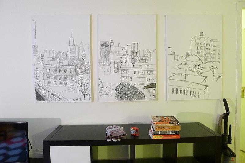 FÖRE: Konstverket över Manhattan hänger kvar på väggen.