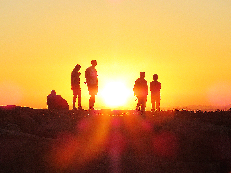 Solnedgång från toppen av Cadillac Mountain i nationalparken Acadia. Foto: Erik Bergin