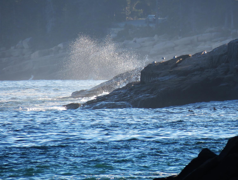 Vågor rullar in mot nationalparken Acadia. Foto: Erik Bergin