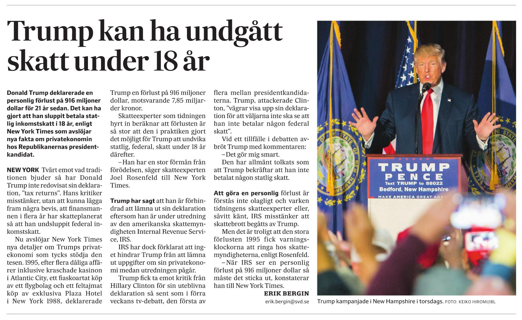 Trump och skatten i SvD.