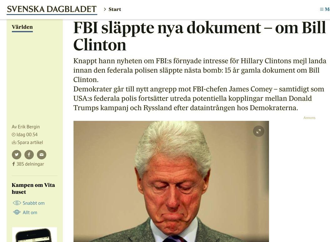 Artikeln om FBI och Bill Clinton gick bra på nätet: 44 000 sidvisningar och över 380 delningar på FB vid kl 20 svensk tid.