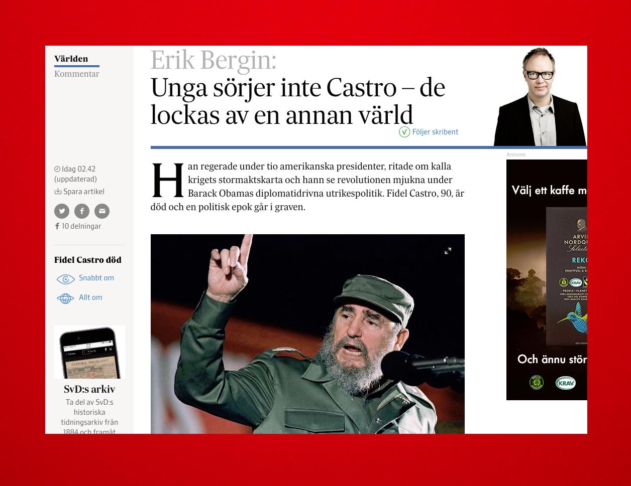 SvD.se morgonen den 26 november 2016.